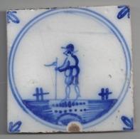 Carreau De Faience  - Fourmaintreaux  à  Desvres   -  Antérieur à 1841   -  11.3 X 11.3 Cm - Non Classés
