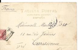 Espagne Cachet Ferroviaire BARCELONA - MALGRAT 1905 .... G - Marcophilie - EMA (Empreintes Machines)