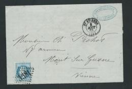 Yvert N° 29 SUR LAC OBLI. GC 3581 , Saint Etienne  8/08/1868  -  Malc9302 - Postmark Collection (Covers)