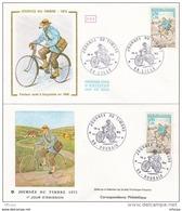L4T190 FRANCE 1972 FDC JdT Facteur Rural à Bicyclette 0,50+0,10f Lille Roubaix 18 03 1972/2 Env. Illus. - Stamp's Day