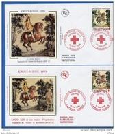 L4T260 FRANCE 1995 2 FDC Croix Rouge Tapisserie De Saumur  2,80+0,60f  Helsinki Saumur 13 05 1995/ 2 Env. Illus. - Red Cross