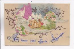 """CP CELLULOÎD AJOUTIS """"Mon Coeur Vous Offre Ce Souvenir"""" - Cartoline"""