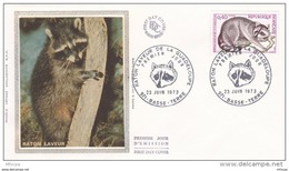 L4T819 FRANCE 1973 FDC Raton Laveur De La Guadeloupe 0,40f 23 06 1973/env. Illus. - Roditori