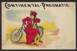 PUBLICITE * CONTINENTAL - PNEUMATIC * FEMME ET BICYCLETTE * 1897 * VELO * FAHRRAD * 2 SCANS * - Publicité
