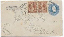 1886 - USA - ENVELOPPE ENTIER Avec COMPLEMENT De PHILADELPHIA => JEVER (OLDENBURG - GERMANY) - 1847-99 General Issues