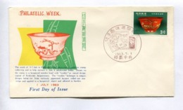 PHILATELIC WEEK, LACQUERED WOODEN BOWL WITH TSUIKIN OR RAISED DESIGN - RYUKYU ISLANDS, YEAR 1963, ISSUE FDC -LILHU - Ryukyu Islands
