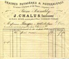 63.CLERMONT FERRAND.GRAINES POTAGERES & FOURRAGERES.J.CHALUS 10 PLACE DESAIX. - Agriculture