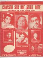 Partition Musicale Ancienne , SACHA DISTEL , Jean Clade Pascal... , CHANSON SUR UNE SEULE NOTE , Frais Fr 1.85e - Partitions Musicales Anciennes