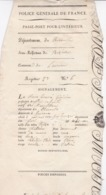 PASSE PORT INTERIEUR 1818 / HERAULT / BEZIERS / HOUVRE / OFFICIER DE SANTE - Documents Historiques