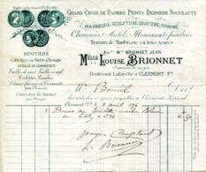 63.CLERMONT FERRAND.PAPIERS PEINTS.MARBRERIE.SCULPTURE.GRAVURE.Mlle.LOUISE BRIONNET BOULEVARD LAFAYETTE. - France