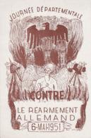 CPSM:ANGE AIGLE CASQUE CROIX GAMMÉE JOURNÉE DÉPARTEMENTALE CONTRE LE RÉARMEMENT ALLEMAND MAI 1951 REIMS (51)..ÉCRITE - Postcards