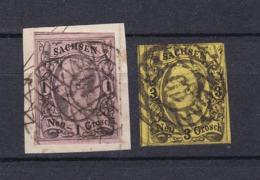 Sachsen - 1855/63 - Michel Nr. 9+11 - Gest. - 30 Euro - Saxony