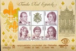 ESPAGNE - 1984 - FAMILLE ROYALE - EXPOSITION PHILATELIQUE MONDIALE -BLOC N°33  LUXE MNH ** - Blocs & Feuillets