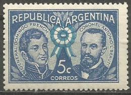 Argentina - 1941 General French & Colonel Beruti 5c MNH **     Sc 475 - Argentina