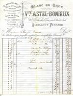 63.CLERMONT FERRAND.BRODERIES.TULLES & DENTELLES.BLANC EN GROS.Vve.ASTEL-BONIEUX 10 RUE DE L'ECU. - Textile & Vestimentaire