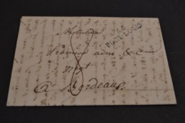 Lettre 1824 Cursive 54 PORT LOUIS Pour Bordeaux - Postmark Collection (Covers)