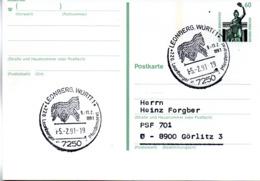 "(Bu-B2) BRD Sonderstempel-Karte ""Leonberger Pferdemarkt"" EF BRD Mi Gzs P141 SSt 5.2.1991 LEONBERG, WÜRTT1 - Storia Postale"