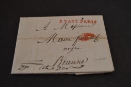 Lettre 1808 Cursive Rouge Port Payé Paris Pour Beaune - Marcophilie (Lettres)