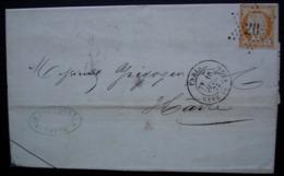 Paris Etoile 26 1873 Sur 40 Centimes Orange Cérès, Gare Du Nord, Lettre De B Fourquet - Poststempel (Briefe)