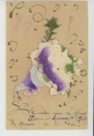 """FLEURS - Jolie Carte Fantaisie CELLULOID Paillettes Violettes & Muguet """"L""""Amitié Sème De Fleurs Le Chemin De La Vie """" - Fleurs"""