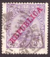 """Portugal 1910 - Rei D. Manuel II  2½ R.  Sobrecarga """" REPUBLICA """" 170 Mundifil - 1910-... République"""