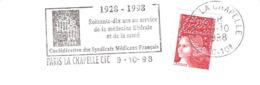 CACHET OBLITERATION FLAMME PARIS LA CHAPELLE MEDECINE SYNDICATS MEDICAUX 70 ANS  ENVELOPPE 16X11 - Marcophilie (Lettres)