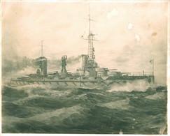 Lithography Lithographie Argentina SHIP NAVIRE Battleship Acorazado ARA RIVADAVIA - BIG Image 24x20cm 1950' - Estampes & Gravures