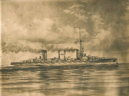 Lithography Lithographie Argentina SHIP NAVIRE Battleship Acorazado ARA RIVADAVIA ? - BIG Image 24x18cm 1950' - Estampes & Gravures