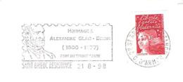CACHET OBLITERATION FLAMME SAINT BRIEUC ALEXANDRE GLAIS BIZOIN PERE DU TIMBRE POSTE  ENVELOPPE 16X11 - Marcophilie (Lettres)