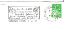 FLAMME FRANQUEVILLE ST PIERREUNION PHILATELIQUE EUROPE 150° ANNIVERSAIRE  TIMBRE POSTE  ENVELOPPE 16X11 - Marcophilie (Lettres)