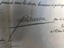 RARE  DIPLOME CHEVALIER LEGION HONNEUR 1896 / CAPITAINE 16 EME RI  / DECHEZELLE / SIGNATURE FELIX FAURE - France