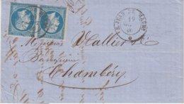 """FRANCE : N° 14 . OBL . CAD SARDE . DE """" ST JEAN DE MAURIENNE """" .( SAVOIE ) . B . 1860 . - Postmark Collection (Covers)"""