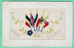 CARTE BRODEE - UNION SACREE - CIRCULEE LE 11 JUILLET 1918 - Ricamate