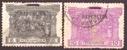 """Portugal 1911 -  Sobre Selos De Porteado Do Continente  Sobrecarga """" REPUBLICA"""" Mundifil 192 E 193 - 1910-... République"""
