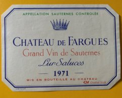 11630 -  Château De Fargues 1971 Sauternes - Bordeaux