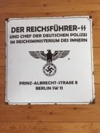 Rare Grande Plaque émaillée Allemande WW2 1939-1945 - 1939-45