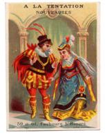 Chromo Calendrier Année 1876 Semestre A La Tentation Paris Couple Romantique Scène Galant XVI Siècle Costume Lith Hermet - Chromos