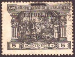 """Portugal 1911 - Sobre Selos De Porteado Do Continente  5r. Sobrecarga  """" REPUBLICA""""  E """" ACORES """" Mundifil 143 - 1910-... République"""