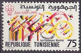 Timbre Neuf ** N° 834(Yvert) Tunisie 1976 - JO Montréal - Tunisie (1956-...)