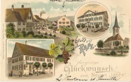 GRUSS Aus RAFZ   ---   Kreuz  - Post  -  Schulhaus -Kirche  - Gasthaus Z. Hirschen  ( 2 SCANS ) - ZH Zürich