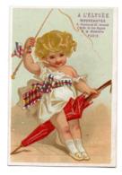Chromo Calendrier Année 1876 Semestre A L'Elysée Paris Jeu Enfant Fillette Attelage Cheval Parapluie Fouet Lith Chéret - Chromos