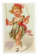 Chromo Calendrier Année 1876 Semestre A L'Elysée Paris Jeu Enfant Fillette Corde à Sauter Course Jardin Lith Chéret - Chromos