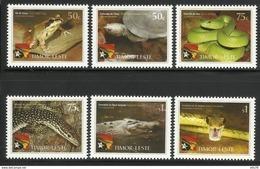 EAST TIMOR TIMOR-LESTE 2010 YEAR OF BIODIVERSITY, REPTILES& AMPHIBIANS,SNAKES,TURTLES,FROG,CROCODILE  SET  MNH - Rettili & Anfibi