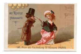 Chromo Calendrier Année 1876 Semestre Au Roule Paris Scène Galante Romantique Couple Jeune Femme éventail Lith Clarey - Chromos
