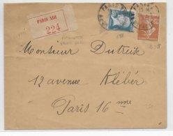 1935 - PASTEUR (ROULETTE Du YT 181) + SEMEUSE Sur LETTRE RECOMMANDEE De PARIS - Marcophilie (Lettres)