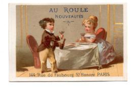 Chromo Calendrier Année 1876 Semestre Au Roule Paris Scène Galante Romantique Couple Jeune Femme Homme Repas Lith Clarey - Chromos