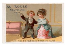 Chromo Calendrier Année 1876 Semestre Au Roule Paris Scène Galante Romantique Couple Jeune Femme Homme Chant Lith Clarey - Chromos