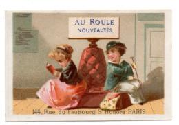 Chromo Calendrier Année 1876 Semestre Au Roule Paris Scène Galante Romantique Couple Jeune Femme Homme Livre Lith Clarey - Chromos