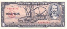 "CUBA RARE 10 PESOS 1960 ""+"" REPLACEMENT BANKNOTE VF+ SERIAL# 048443 / CHE GUEVARA PRINTED SIGNATURE - Cuba"