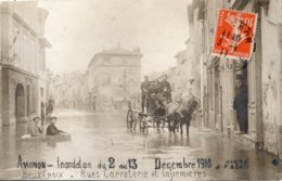AVIGNON INONDATION DU 2 AU 13 DECEMBRE 1910 BELLE CROIX RUES CARRETERIE ET INFIRMIERES (CARTE PHOTO) - Avignon